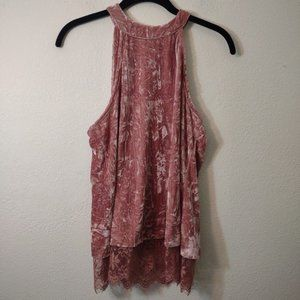 Miami Pink Crushed Velvet Open Back Tank Top S